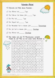 Kalender-Rätsel zum Jahr … Calendar puzzles for the year Kindergarten Portfolio, German Grammar, German Language Learning, School Calendar, Science Student, Learn German, Education System, Elementary Education, Teacher Resources