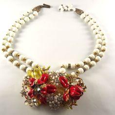 "Vintage double strand 16-17"" necklace with large floral cluster focal NR! #Unbranded #doublestrandnecklace"