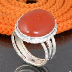 925 SOLID STERLING SILVER DESIGNER RED ONYX RING 7.34g DJR6037 #Handmade #Ring