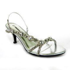 Low Heel Wedding Shoes   ... Low Heel Sling back peep toe side gems  wedding cruise dress shoes