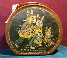 Vintage Oval Leather Trimmed Hinged Children's Bunnies on A Picnic Purse