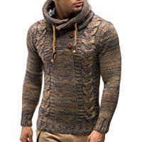 LEIF NELSON Men's Knitted Pullover Hoodie Hooded Sweatshirt