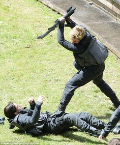 Two days ago: On Tuesday, Hutcherson was seen violently attacking Katniss after the Capitol's torturers inject 'tracker jacker venom' in him...