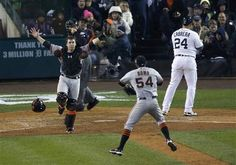 San Francisco Giants defeated the Tigers to win the MLB World Series baseball championship in Detroit, Michigan
