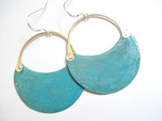 Handmade Metalwork Earrings-Blue Green Patina by AnnaRecycle