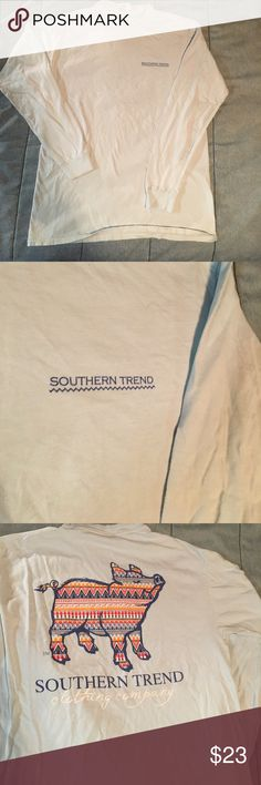 Southern Trend Long Sleeve Tribal Hog Tee Light blue long sleeve Comfort Colors tshirt, tribal hog on back, lightly worn, one TINY spot (see pic)-- otherwise great condition! Size medium Southern Trend Tops