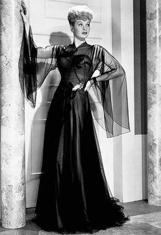 Lucille Ball in a gown by Irene Lentz. 1946