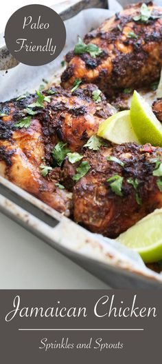 Jamaican Chicken. A spicy and aromatic chicken dish, that is simple to prepare and cooks easily in the oven. #recipe #paleo
