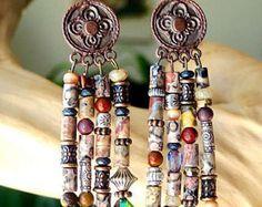 BOHEMIAN LEOPARDSKIN Tassel EARRINGS Copper Mooikaite Hill Tribe Silver Swarovski Crystals Boutique Fashion Artisan Bracelets of Blue Ridge