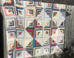 1930'S Log Cabin Quilt Hand Stitched Vintage Multi Vibrant Color Cotton Dated 42 good squares. Worn Cutter Condition Blanket Stitched Edges