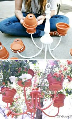 Chandelier Planter Bet it would be super cool with some solar lights in the planters with the plants too. Garden Crafts, Garden Projects, Diy Crafts, Chandelier Planter, Flower Chandelier, Outdoor Chandelier, Diy Chandelier, Chandelier Makeover, Iron Chandeliers