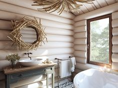 Love the white tone of the wood Cabin Interiors, Wood Interiors, Log Home Bathrooms, Modern Log Cabins, Log Cabin Living, My Ideal Home, Cabin Design, House In The Woods, Home Staging