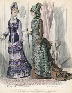 March fashions, 1877 England, The Englishwoman's Domestic Magazine Check out the button line on the green dress!