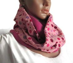 Winter Snood doubled woman or girl pink and purple, hot snood fleece and  cotton scarf with polka dots, Christmas gift girl cb33b0bb4c7