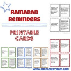 Ramadan Reminders to print for family crafts and learning!