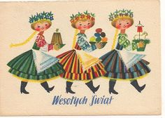 a vintage Polish Easter card Vintage Greeting Cards, Vintage Postcards, Illustrations, Children's Book Illustration, Polish Easter Traditions, Polish Folk Art, Art Costume, Folk Costume, Easter Art