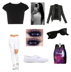 """Untitled #70"" by forever30-1 on Polyvore featuring Alice + Olivia, Balmain, Vans, Ray-Ban and JanSport"