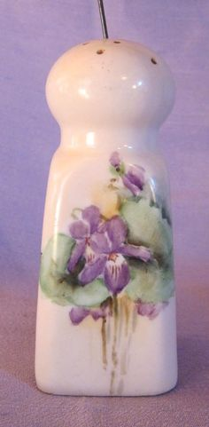 Vintage Hand Painted Violets Hat Pin Holder or Salt Shaker Artist Signed❤❤❤