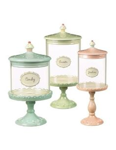 Grasslands Road Just Desserts Cupcake Pedestal Candy Jars Three Styles, Set of 3 ~ swoon, these are so delicate and sweet~ Candy Jars, Candy Buffet, Candy Dishes, Candy Table, Cupcake Kitchen Decor, Bar A Bonbon, Decoration Patisserie, Pots, Sweet Cupcakes