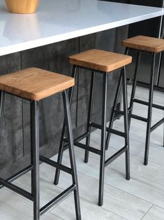 Industrial style bar stool, pub stool, wood and metal stool – metal of life Industrial Bar Stools, Modern Stools, Industrial Furniture, Kitchen Industrial, Industrial Chair, Industrial Lighting, Industrial Wallpaper, Industrial Windows, White Industrial