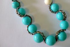This lovely turquoise chain necklace was born from a design by Anthropologie