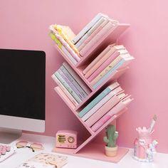 Kawaii Bookshelf   Pink Wooden Table   Juwas Study Room Decor, Room Setup, Room Ideas Bedroom, Bedroom Decor, Cute Room Ideas, Cute Room Decor, Kawaii Bedroom, Gamer Room, Aesthetic Room Decor