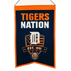 "This 14"" x 22"" beautifully embroidered banner celebrates a fan's love for the Detroit Tigers."