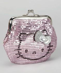 Take a look at this Pink Metal Mesh Hello Kitty Kiss Lock Coin Purse by Hello Kitty on #zulily today!