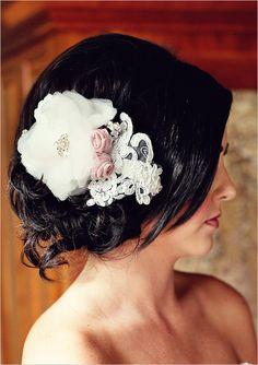 Love this lace hair accessory. Wedding Hair And Makeup, Wedding Hair Accessories, Bridal Hair, Bride Hairstyles, Pretty Hairstyles, Hairdos, Cute Updo, Wedding Braids, Lace Hair