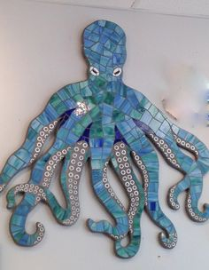 Octopus Mosaic Wall Art Sculpture Stained by LucyDesignsonline