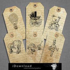 Printable baby shower tags pack of 6 pieces labels in by iDownload, €3.15