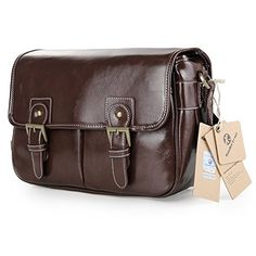 Koolertron Waterproof Vintage fashionable PU Leature DSLR Camera Bag Shoulder Messenger Bag Fit DSLR with 2 lenses For Canon Sony Nikon Canon Olympus And So On Coffee *** More info could be found at the image url.
