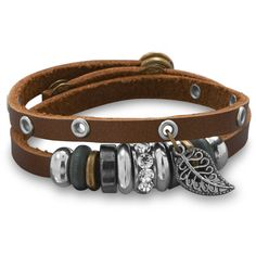 14 + 1 Multibead Leather Fashion Wrap Bracelet ($19) ❤ liked on Polyvore featuring jewelry, bracelets, accessories, joias, charm wrap bracelet, bead jewellery, beaded jewelry, leather jewelry and leather charm