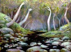 r/ImaginaryForests - Sterling Grove by Seb McKinnon Dream Symbols, Mtg Art, Magic The Gathering, Pre Raphaelite, Visionary Art, Watercolour Painting, Faeries, Magick, Waterfall