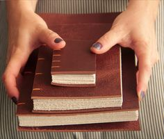 """""""There's beauty in the imperfections"""" Handmade Notebook, Handmade Journals, Handmade Books, Leather Notebook, Leather Books, Leather Journal, Book Binding Methods, Japanese Stab Binding, Ties That Bind"""