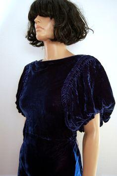 30s40s Dress Art Deco Blue Velvet Bias Cut Dress/ by poetryforjane,