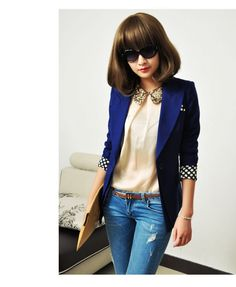 women's Candy color OL style suit Coat jacket -Windbreaker- long-small jacket -woman suit  clothing in Dark Blue. $49,90, via Etsy.