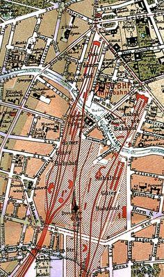 Potsdamer- und Anhalter Bahnhof Karte des Gebiets 1896