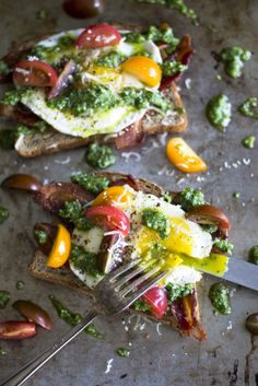 Open Face Egg and Pesto Sandwich with fresh cherry tomatoes and bacon ...