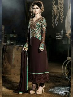 Brown Embroidered Straight Salwar Kameez Suit