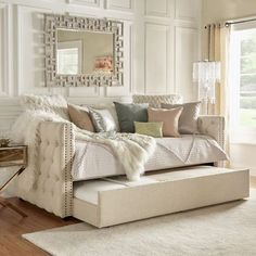 Ghislain Daybed with Trundle Perfect for guest room/office! Small Space Bedroom, Small Spaces, Full Daybed With Trundle, Full Size Daybed, Day Bed Trundle, Futon Design, Chair Design, Daybed Room, Daybed Couch