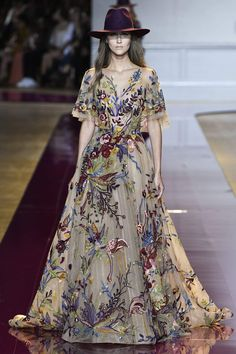 Zuhair Murad Fall Winter 2016 Couture Collection - love the juxtaposition  of menswear hat and beautiful 455a6f18f2da