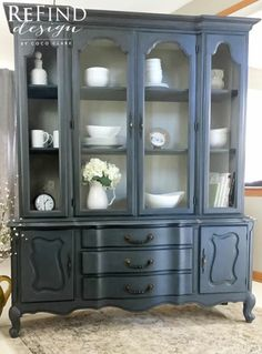 French Provincial China Cabinet. Hand painted in Annie Sloan custom color of Old Violet and Graphite highlights in Napoleonic Blue with custom linen interior. Clear and dark wax. #ascp #oldviolet #graphite #napoleonicblue #frenchlinen #oldwhite #darkwax #frenchprovincial #frenchcountry