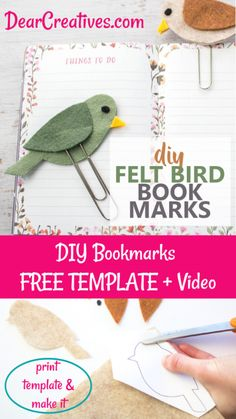 DIY Bookmark - How To, Video And Free Bird Template Plus step by step how to with images to make it so quick and easy to make. This felt craft would make a great gift for any book lover, teacher, mom, Felt Crafts Kids, Crafts For Teens To Make, Diy Gifts For Kids, Bird Crafts, Unicorn Crafts, Preschool Crafts, Felt Bookmark, Bookmark Craft, Bookmarks Kids