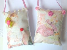 Girl Sachet Pillow Retro Lavender sachet by CrossStitchElizabeth