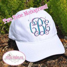 Monogram womens baseball cap two tone monogram by The Pink Paisley b54c5f1c2782