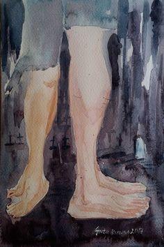Buy Zombies in love, Watercolor by Geeta Biswas on Artfinder. #zombies #watercolor #love #originalart #artforsale #under$100 #gifts #legsfordays #kissing #geetabiswas #conceptart #emergingartist #art #painting #artfinder
