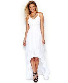 GUESS Sleeveless Ruffled High-Low Maxi Dress