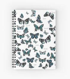 'Blue Butterflies' Spiral Notebook by Scribblestudio