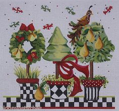 Kelly Clark Needlepoint Peary Christmas Topiaries HP Needlepoint Canvas